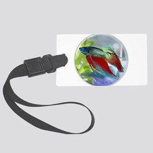 Colorful Betta Fish in a Bubble Large Luggage Tag