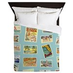 Vintage Beach Postcards Coastal Queen Duvet