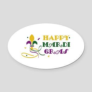 HAPPY MARDI GRAS Oval Car Magnet