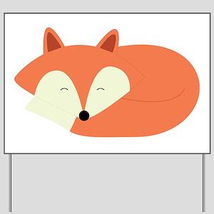 Sleepy Red Fox Yard Sign