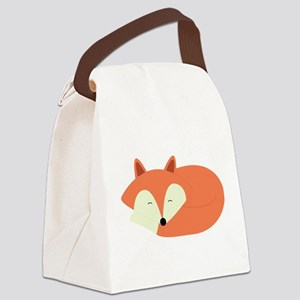 Sleepy Red Fox Canvas Lunch Bag