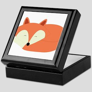Sleepy Red Fox Keepsake Box