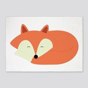 Sleepy Red Fox 5'x7'Area Rug