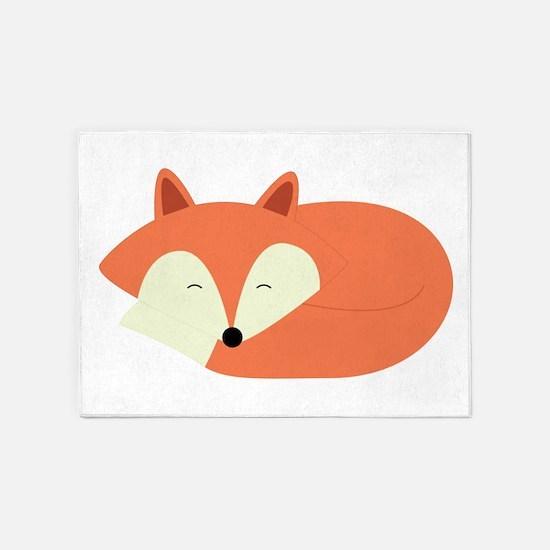 Sleepy Red Fox 5'x7'Area Rug
