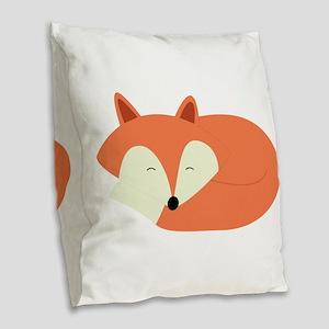Sleepy Red Fox Burlap Throw Pillow