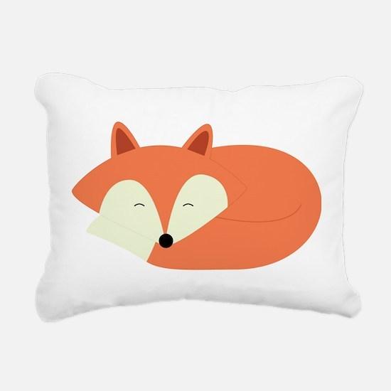 Sleepy Red Fox Rectangular Canvas Pillow