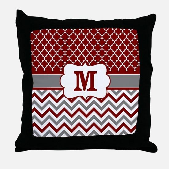 Red Gray Quatrefoil Chevron Monogram Throw Pillow
