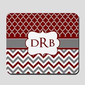 Red Gray Quatrefoil Chevron Monogram Mousepad