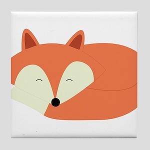 Sleepy Red Fox Tile Coaster