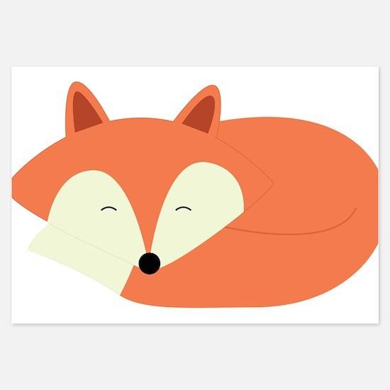 Sleepy Red Fox Invitations