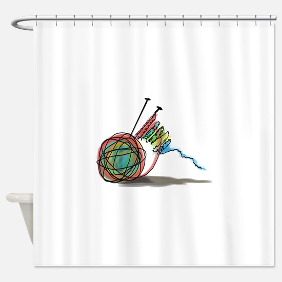 Time to Knit Shower Curtain