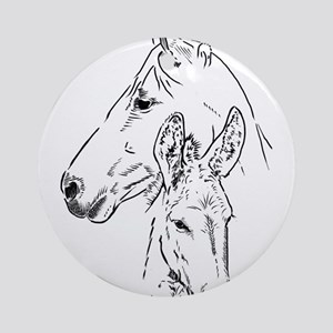 horse and mini donkey Ornament (Round)