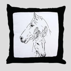 horse and mini donkey Throw Pillow