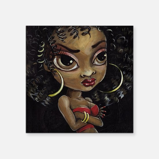 "Cute Afro american Square Sticker 3"" x 3"""