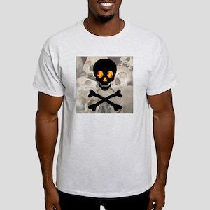 Flaming Skull Pile Ash Grey T-Shirt