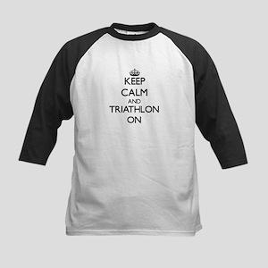 Keep calm and Triathlon ON Baseball Jersey
