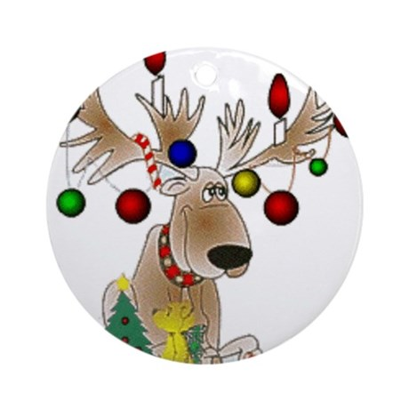 Reindeer Ornament (Round)