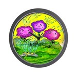 Flowers Keeping Cool Wall Clock