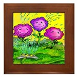 Flowers Keeping Cool Framed Tile