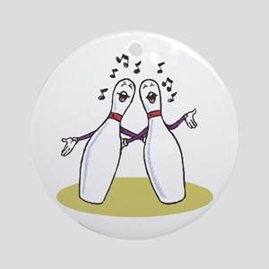 Singing Bowling Pins Ornament (Round)