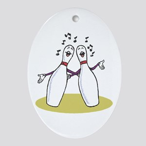 Singing Bowling Pins Oval Ornament