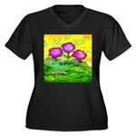 Flowers Keeping Cool Women's Plus Size V-Neck Dark