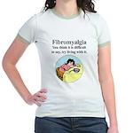 Fibromyalgia Tired Woman Jr. Ringer T-shirt