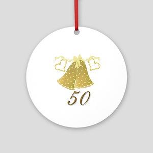 50 Anniversary Golden Bells Ornament (Round)