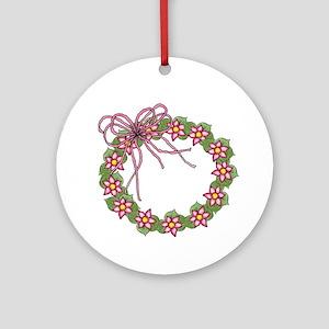 Pink Flowered Wreath Ornament (Round)