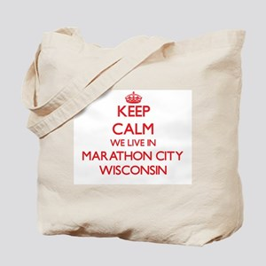 Keep calm we live in Marathon City Wiscon Tote Bag