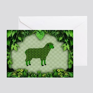 Green Sheep Greeting Card