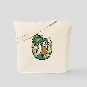 Organic Farmer Harvest Basket Woodcut Linocut Tote