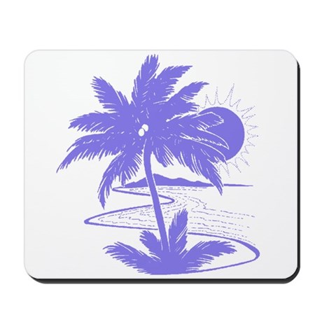 Violet Palm Beach Silhouette Mousepad