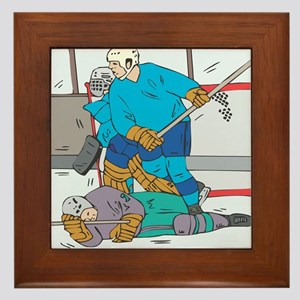 Hockey: Player Down Framed Tile