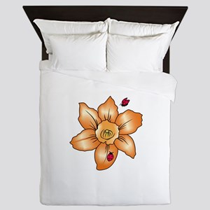LADYBUGS AND DAFFODIL Queen Duvet
