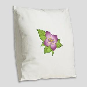 VIOLET FLOWER Burlap Throw Pillow