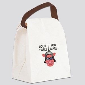LOOK TWICE FOR BIKES Canvas Lunch Bag