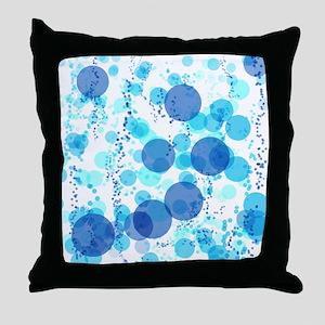 Bubbles Blue Throw Pillow