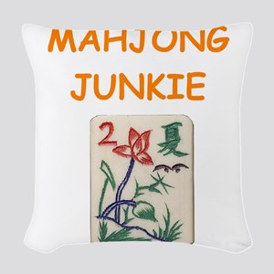 mahjong joke Woven Throw Pillow