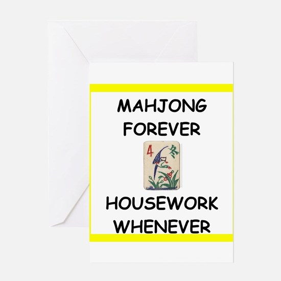 mahjong joke Greeting Cards