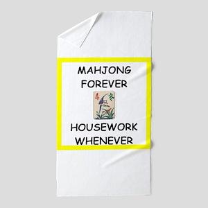 mahjong joke Beach Towel