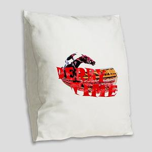 DERBY TIME Burlap Throw Pillow