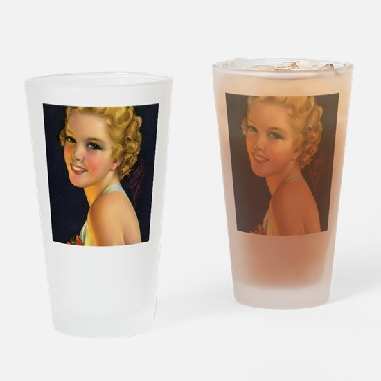 retro vintage girl Drinking Glass