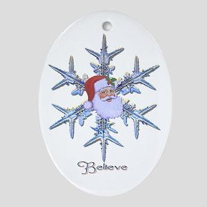 "Snow Santa ""Believe"" Oval Ornament"