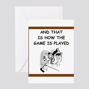 hockey joke Greeting Cards