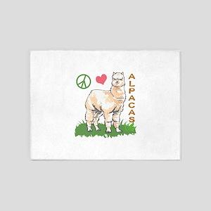 PEACE LOVE ALPACAS 5'x7'Area Rug