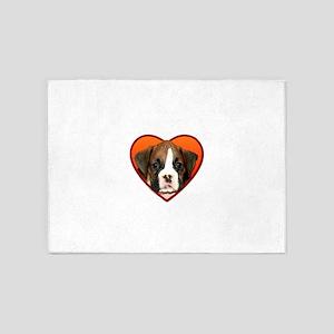 Valentine's Boxer puppy 5'x7'Area Rug
