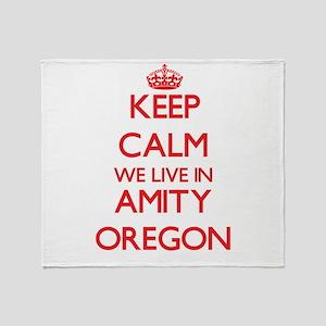 Keep calm we live in Amity Oregon Throw Blanket