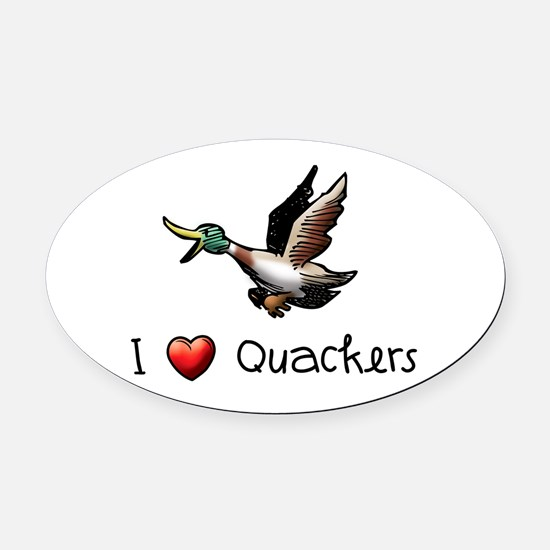 I-love-quackers.png Oval Car Magnet