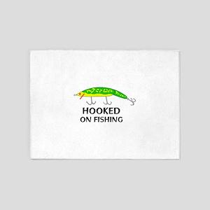 HOOKED ON FISHING 5'x7'Area Rug
